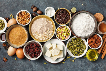 Different ingredients for baking, Home baking. Food background with copy space, top view