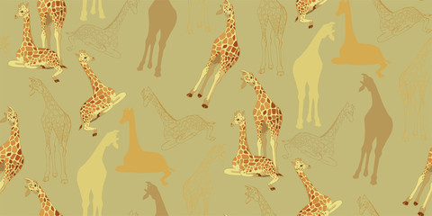 Little giraffes with a funny slogan. African print. Illustration for children with giraffes.