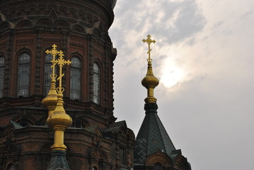 Crosses on a Russian Orthodox Church Exterior in Harbin, China