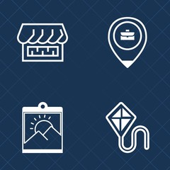 Premium set of outline vector icons. Such as people, retro, picture, decoration, frame, modern, shop, leisure, joy, grocery, vintage, wall, curtain, storefront, photo, front, paper, work, image, sky