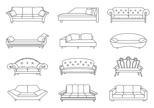 Sofa colored vector set. Collection of sofa illustration. Stock vector. Coloring book
