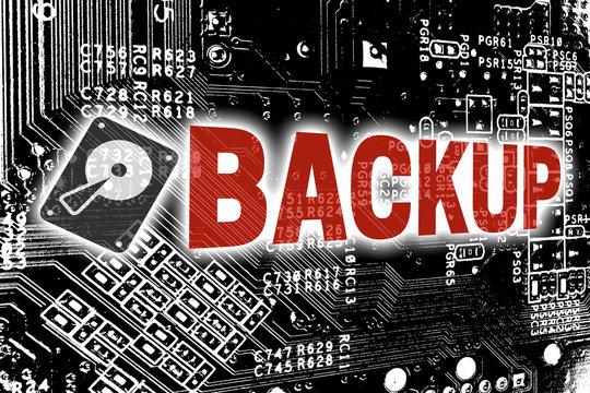 Backup mit Leitplatine Konzept Hintergrund