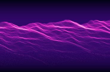 Abstract purple background. Wavy structure with particles with glow. Vector  illustration.