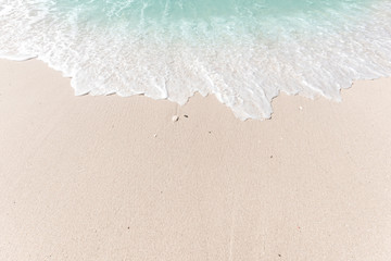 Fototapete - Tropical beach background with soft wave and white sand