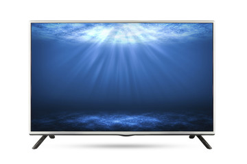 TV flat screen deep sea isolated white background.