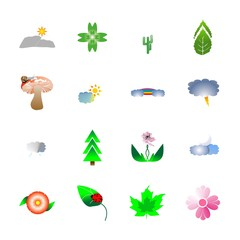 icon Nature with clover, lightning, cloudy, leaf and mountain