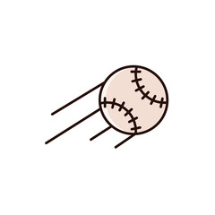 Flying baseball or softball with motion path lines - flat color line icon on isolated background. Base ball sign, emblem, element in thin linear design.