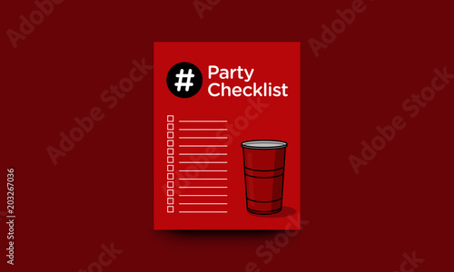 Party Checklist To Do List Template With Red Glass