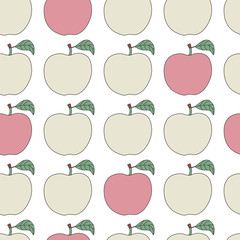 Seamless pattern with cartoon apples.