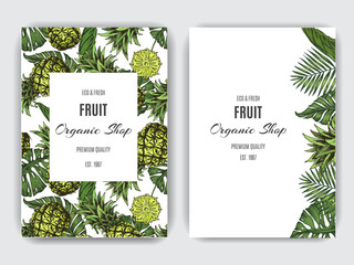 Card for eco store with a vector illustration of pineapples and palm leaves.