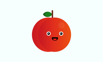 Cute Peach Fruit Vector Illustration with Smiley face