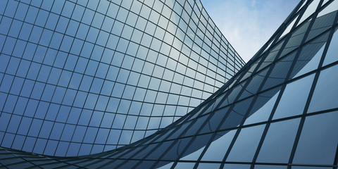 View of the clouds reflected in the curve glass office building. 3d rendering Fotomurales