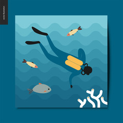 Simple things - a scuba diver under the sea swimming down towards the coral on the sea bottom, surrounded by fishes, postcard, vector illustration