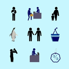 icons about Human with sale, ladies, home, love and birthday