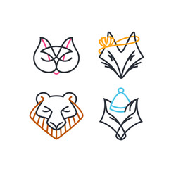 Vector set of line and color design animals' icons with some human features.