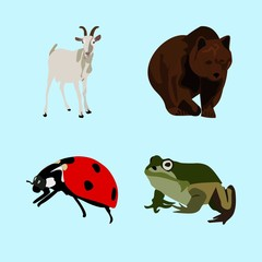 icons about Animal with frog, white, computer, dairy and polar bear