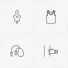 Boxing line icon set with punching bag, jumping rope and sport shirt