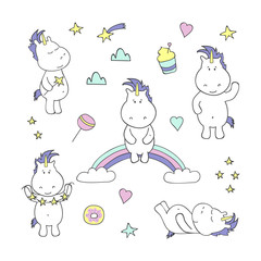 Set with cute unicorns on white background. Vector illustration.
