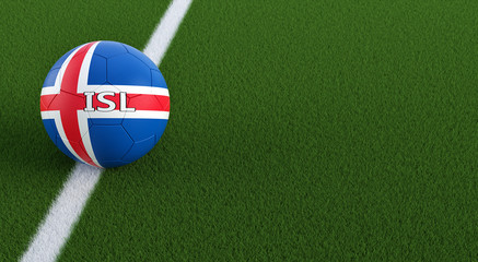 Soccer ball in Icelands national colors on a soccer field. Copy space on the right side - 3D Rendering