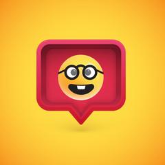 Funny 3D emoticon in 3D speech bubble, vector illustration