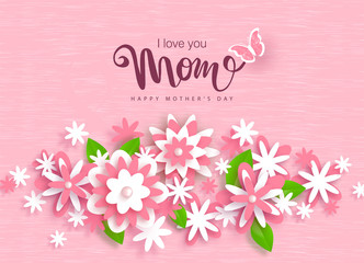 Happy Mothers Day greeting card design with beautiful paper flowers. Design layout for invitation, greeting card, ad, promotion, banner, poster, voucher.