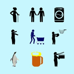 icons about Human with hope, start, logo, grandma and shopper