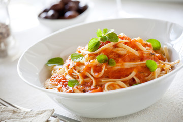 Bowl Of Pasta With Organic Tomato Sauce And Basil