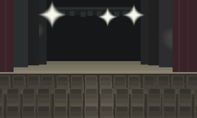 empty theater scene with three bright spotlights, burgundy curtain and rows of brown chairs for spectators vector illustration