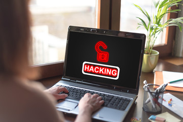 Hacking concept on a laptop screen