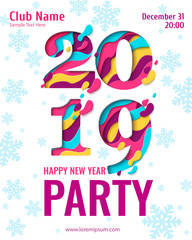 2019 Happy New Year paper craft holiday background with snowflakes pattern. Vector winter holiday party invitation with paper cut numbers 2019 design for seasonal flyers, banners, posters.