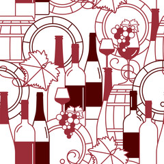 Wine pattern. Seamless background with bottles, wine glasses, barrels and grapes. Vector illustration.