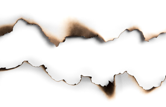 Burning paper on white paper with shadow,text copy space.