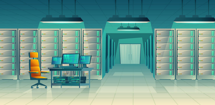 Vector set of cartoon control room with server racks, table. Database, data center for hosting, networking. Administration of internet technology with computer hardware, equipment