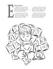 Children with books by hand drawing.Happy children in the book pile.The child is happy with his learning and imagination.