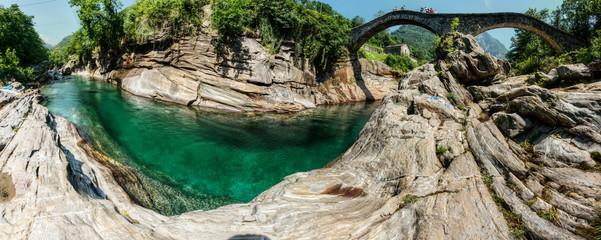 Versasca River and Ponte dei Salti in Lavertezzo, Ticino