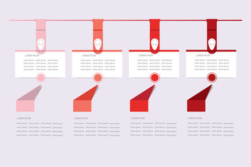 Set of infographic hanging rectangular labels in the shadows of red color