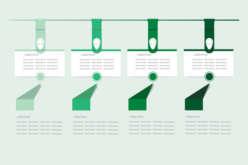 Set of infographic hanging rectangular labels in the shadows of green color.