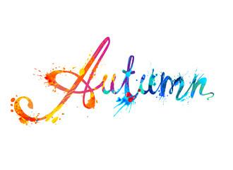 Autumn. Hand written word of splash paint