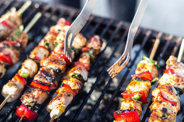 Close up pf delicious chicken breast on wooden skew with fresh vegetables, garlic, paprika fried on mangal barbeque grill