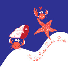 Greeting card with crabs in love