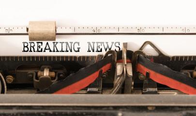 BREAKING NEWS written on vintage manual typewriter