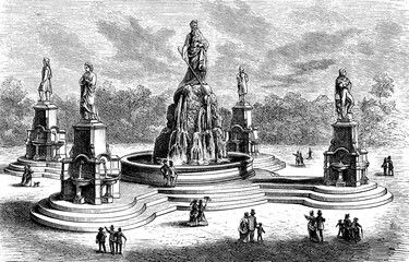 The Catholic Total Abstinence Union Fountain, ornamental and drinking fountain built in 1877 in Philadelphia and now defunct. The marble monument was symbolizing the power of virtues.