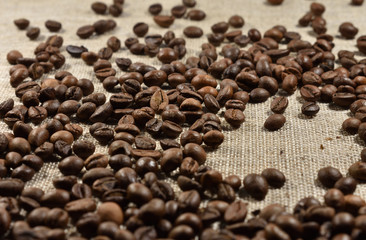 coffee beans on a background of burlap