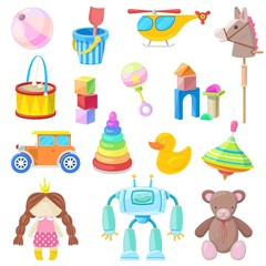 Kids toys vector icons set. Color toy for baby boy and girl, cartoon illustration