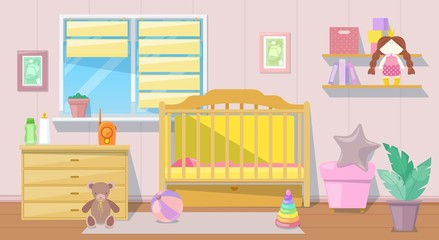 Baby girl pink room interior, vector cartoon illustration. Nursery bedroom furniture and design elements for newborn