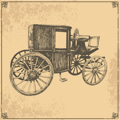 Vector old carriage on a beige background
