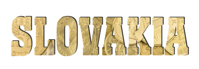 Slovakia.  Shiny golden coins textures for designers. White isolate