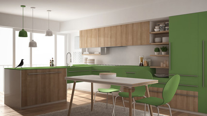 Modern minimalistic wooden kitchen with dining table, carpet and panoramic window, white and green architecture interior design