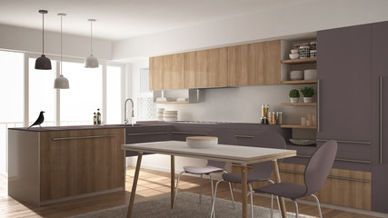 Modern minimalistic wooden kitchen with dining table, carpet and panoramic window, white and violet architecture interior designv
