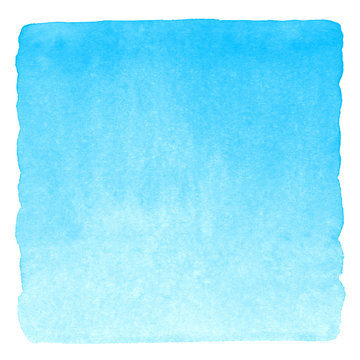 Sky blue watercolor gradient square texture. Painted abstract background with watercolour stains isolated on white. Hand drawn aquarelle template with uneven rounded edges.
